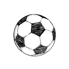 Football icon sketch or soccer drawing in doodles style. Hand-drawn in minimalism. Sport vector moments for tournament.