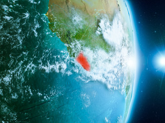 Sunrise above Liberia on planet Earth