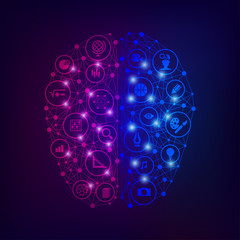 concept of left and right brain function, shape of brain with analytic and creative icons