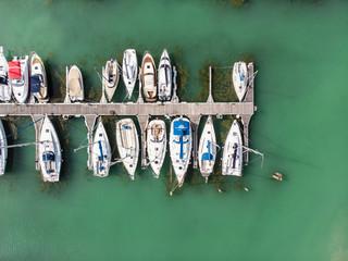 White sailing boats in Lake Balaton