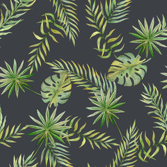 seamless pattern with tropical leaves on a dark background