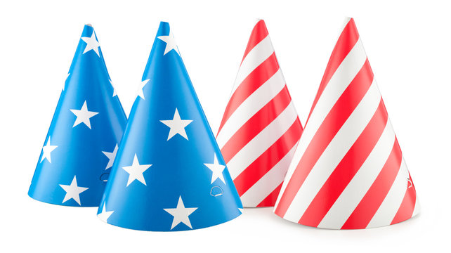 4th of July brithday USA party hat isolated.