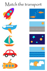 Match the transport and where it flyes and goes, fun education game with transport for children, preschool worksheet activity for kids,task for the development of logical thinking, vector illustration