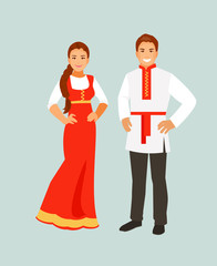 Russian costume vector