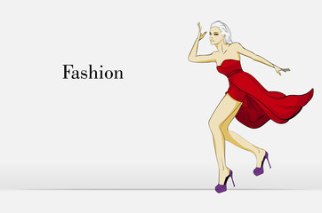 Fashion illustration with the inscription Stylish model. Fashion girl. Sketch. Girl in the dress