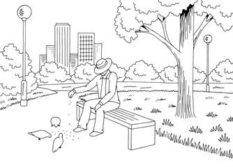 Park graphic black white bench lamp landscape sketch illustration vector. Old man feeding birds