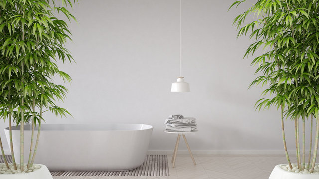 Zen interior with potted bamboo plant, natural interior design concept, bathroom background, bathtub, table and lamp on herringbone parquet flooring