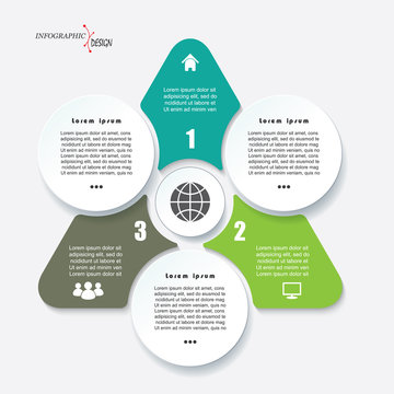 Business concept design with triangle and 3 segments. Infographic template can be used for presentation, web design, workflow or graphic layout, diagram, numbers options
