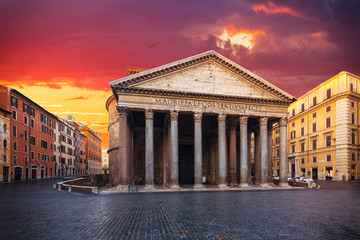 Wall Mural - view of Pantheon in the morning. Rome. Italy.
