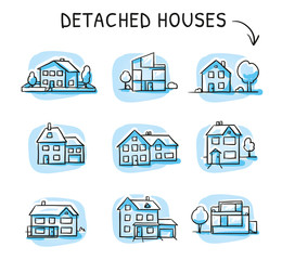 Set of three different houses, detached, single family houses with gardens. Hand drawn cartoon sketch vector illustration, blue marker style coloring.