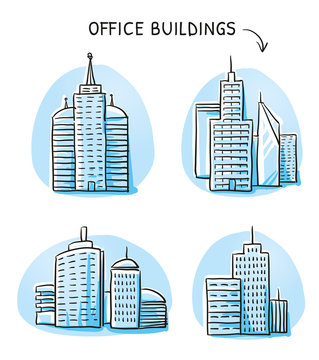 Set of different office and industry buildings, high rise, tower, factory. Hand drawn cartoon sketch vector illustration, blue marker style coloring.