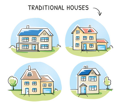Set of 4 different colorful houses, detached, single family houses with gardens and garage. Hand drawn cartoon sketch vector illustration, marker style coloring.