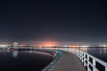 Boardwalk and diving platform at night - Geelong Promenade Wall mural