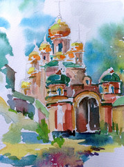 watercolor painting architecture  church building historic ansient nature europe landmark travel tourism