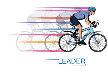 Cyclist on a bicycle. Sports bike. Bicycle helmet. Man riding a bike. Vector graphics to design.