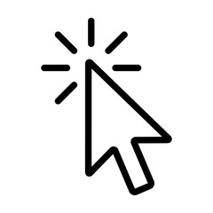 Mouse pointer arrow clicked or cursor click line art icon for apps and websites