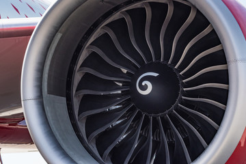 Close up engine of red Boeing 777