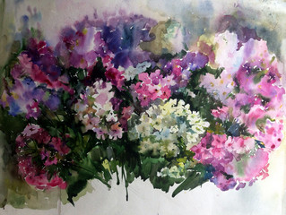 Abstract bright colored decorative background . Floral pattern handmade . Beautiful tender romantic spring bouquet of phlox flowers  , made in the technique of watercolors from nature.