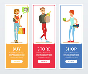 People with shopping bags vertical banners set, buy, store, shop flat vector ilustrations