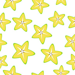 Seamless background with yellow star apple slices on white.