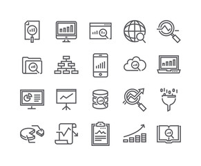 Editable simple line stroke vector icon set,Data analysis related icons collection, Graphs, Traffic Analysis, cloud computing, Big Data and more..48x48 Pixel Perfect.
