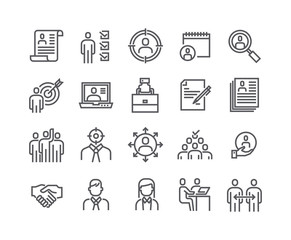 Editable simple line stroke vector icon set,Headhunting Related Icons. Business people, Communication and Team work and more.48x48 Pixel Perfect.