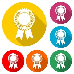 Badge with ribbons icon, Award ribbon, color icon with long shadow