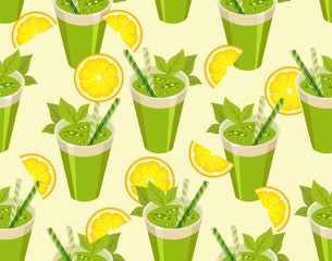 green cocktail seamless pattern