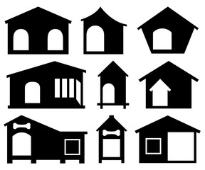 Set of different dog houses isolated on white