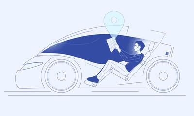 Future modern autonomous car driving young man using a virtual interface