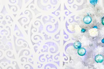 New Year's interior in light blue tones.