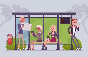 City bus stop people
