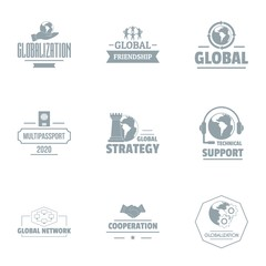 Industrial support logo set. Simple set of 9 industrial support vector logo for web isolated on white background
