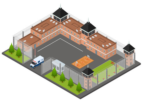Prison Penitentiary Concept 3d Isometric View. Vector