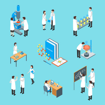 Science Chemical Pharmaceutical 3d Icons Set Isometric View. Vector