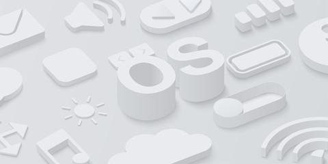 Fototapeta Grey 3d operating system background with web symbols. obraz