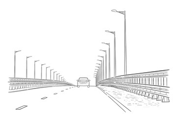 Road graphic art black white landscape sketch