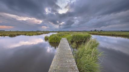 Wooden footbridge in wetland river