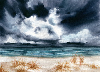 Watercolor Landscape with Sea and Dark Sky
