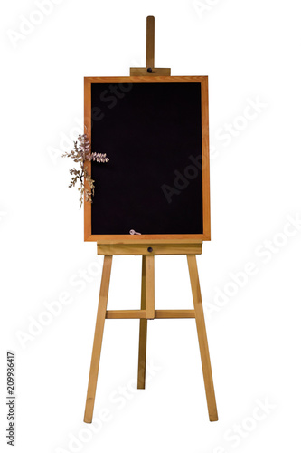 Isolated Chalk Board In The Form Of An Easel On Three Legs An Empty
