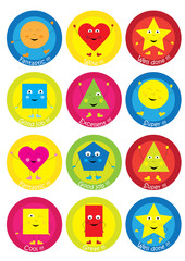 Teacher Reward Motivational Stickers for Children – funny, happy basic shapes collection