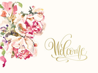 greeting card wedding invitation with hand painting watercolor p