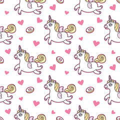 Unicorn seamless vector pattern