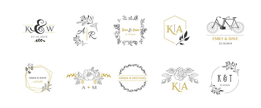 Wedding logos, hand drawn elegant monogram collection