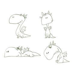 Outline vector illustrations set of a cartoon sad dragons