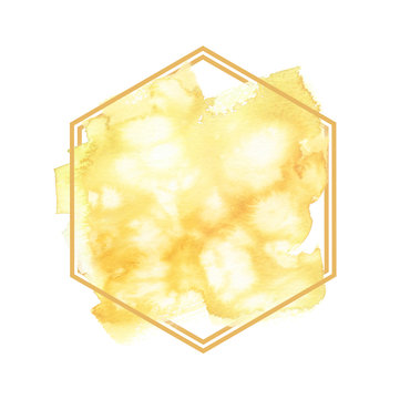 Pale light honey yellow abstract brush strokes painted in watercolor surrounded by hexagonal frame on clean white background