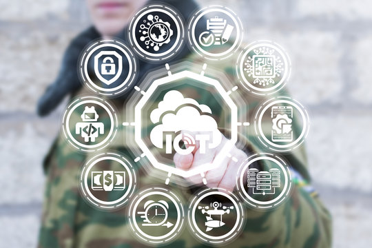 Soldier pushing a button iot with cloud on a virtual panel. Internet of things cloud computing military information technology.