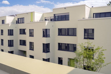 View on new build modern luxury houses, Apartment on sunny day