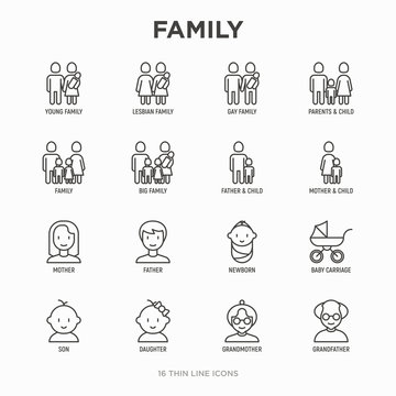 Family thin line icons set: mother, father, newborn, son, daughter, lesbian, gay, single mother and child, grandmother, grandfather. Modern vector illustration.