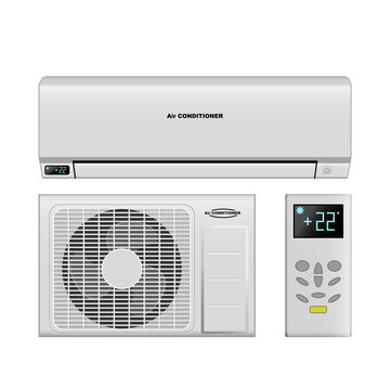 Realistic air conditioning, air conditioner vector illustrations.